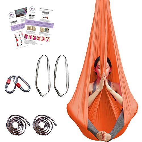 Aum Active Silk Aerial Yoga Swing & Hammock Kit for Improved Yoga Inversions, Flexibility & Core Strength (Orange)