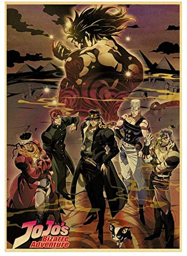 H/F Giapponese Anime Bizarre Adventure Poster Kraft Art Stampato Poster Retro Family Room Decorazione Wall Sticker Frameless (15,7X 19,6 Pollici) G8356