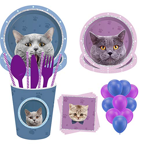113PCS Cat Party Supplies Set, Partybloom Cat Disposable Tableware with Cat Plates Cups Napkins More for Cat Birthday Theme Party Decoration (Cat Tableware)