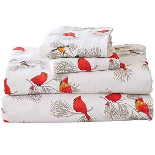 OakRidge Cardinal and Chickadee Flannel Sheet Set, Turkish Cotton Flannel, Queen