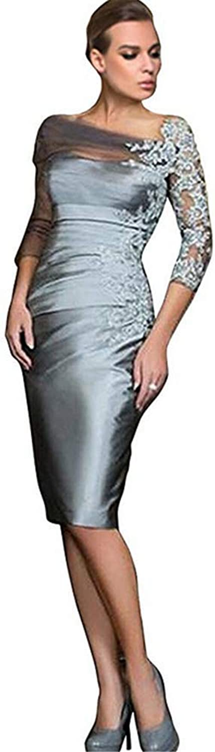 Kailiya Silver Grey Satin Lace KneeLength Prom Evening Gowns