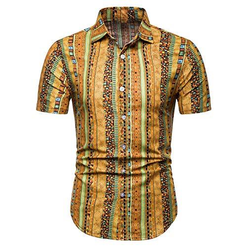 Jinyuan Camisa Hawaiana De Playa De Verano para Hombres 2020 Marca De Manga Corta Camisa Floral De Gran TamañO Ropa Casual De Vacaciones para Hombres Amarillo 3XL