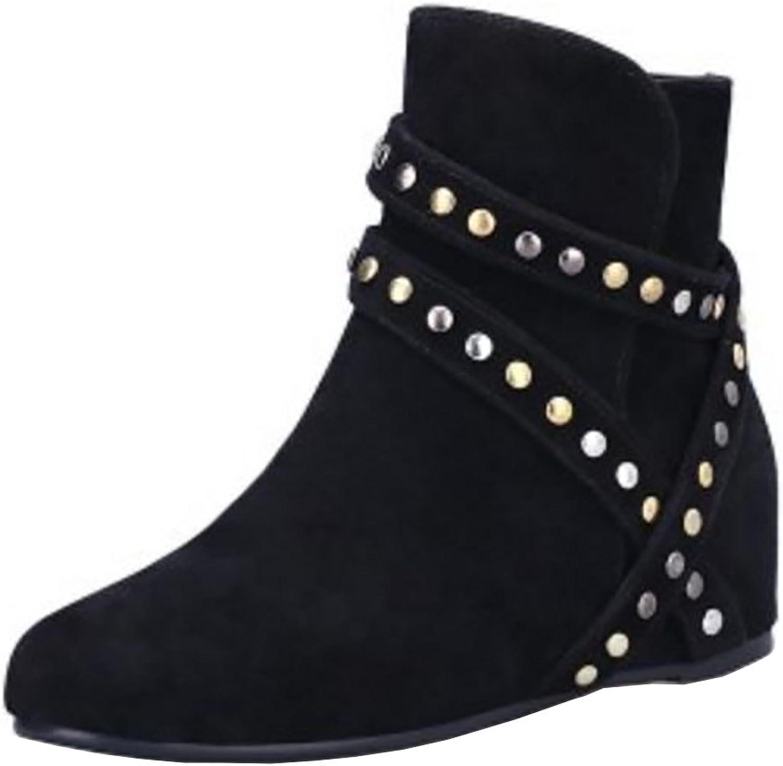 RizaBina Women Fashion Hidden Heel Warm Ankle Boots with Zipper
