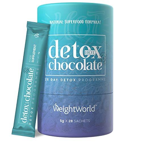 Detox Heiße Schokolade - Detox Kur für Entschlackung & Entgiftung - Natürlicher Kakao mit Ginseng & Garcinia - Hot Chocolate Trinkschokolade ohne Zucker kalorienarm - 28 Portionen vegan - WeightWorld