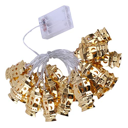 SOLUSTRE Muslim Ramadan Decoration Light 20LEDs Iron Golden Eid String Lights for Festival Party, Always Bright and Flashing Mode, 2pcs