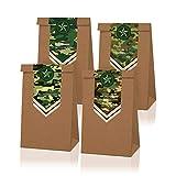 Bolsas de regalo para fiestas – Paquete de 12 bolsas de regalo, suministros de fiesta de camuflaje, bolsas de papel reciclables para niños, diseño de camuflaje, 10 x 9.8 x 19.8 cm
