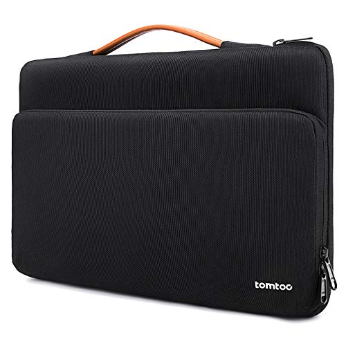 "tomtoc 14 Inch Protective Laptop Sleeve Handle Bag for 2020 Dell XPS 15, 14 inch Lenovo Thinkpad X1, 15"" MacBook Pro Touch Bar A1990 A1707, Shockproof Notebook Travel Briefcase Bag, Black"