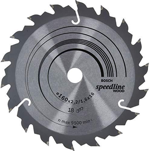 Bosch Professional Zubehör 2608640785 Kreissägeblatt Speedline Wood 160mm x 2,2/1,6 x 16mm, 18