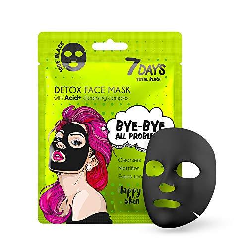 Maschera Viso in Tessuto Nera 1 pezzo Carbone Tutti i Tipi di Pelle Idratazione Profonda Ringiovanire Esfolia Tonifica Rigenera 25g | 7DAYS