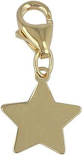 """Gioiello Italiano - Charm""""Stella"""" in oro giallo 14kt con moschettone, per bracciali e collane"""