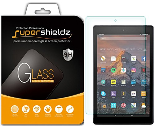 Supershieldz for All New Fire HD 10 Tablet 10.1 inch (9th and 7th Generation, 2019 and 2017 Release) Tempered Glass Screen Protector, Anti Scratch, Bubble Free