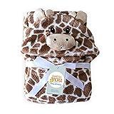 YMCHE Babyhandtuch mit Kapuze, Kapuzenhandtuch und Waschlappen Set, Kapuzenbadetuch mit Ohren für Babys, Grey-block, 39x39 inches