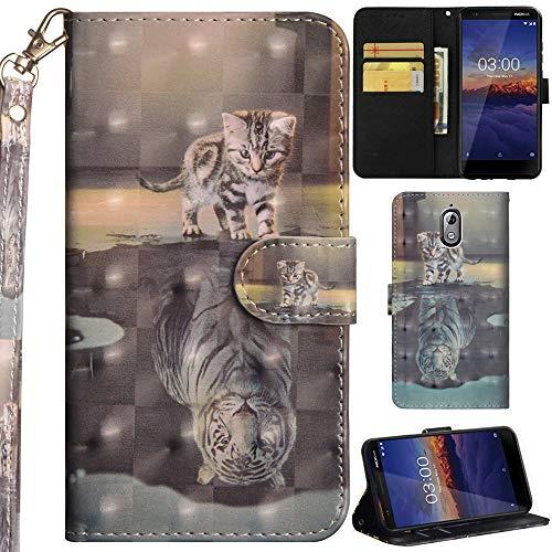 Ooboom Nokia 3.1 Custodia 3D Cover Flip Folio in Pelle PU Cuoio Copertura Case Wallet Portafoglio Supporto Slot per Schede Cinturino da Polso per Nokia 3.1 - Gatto Tigre