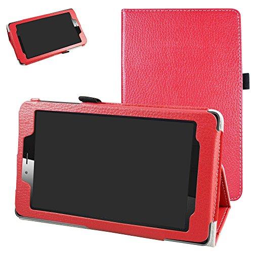 Mama Mouth vodafone Smart Tab Mini 7 / ALCATEL pixi 4 7 Funda, Slim PU Cuero con Soporte Funda Caso Case para 7' vodafone Smart Tab Mini 7 / ALCATEL pixi 4 7 Android Tablet 2016,Rojo
