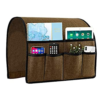 Joywell Armchair Caddy Remote Control Holder for Couch Recliner Armrest Organizer Non Slip Sofa Arm Chair Caddie with 6 Pocket Storage for Magazine Tablet Phone iPad Chocolate