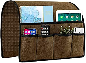 Joywell Armchair Caddy Remote Control Holder for Couch Recliner Armrest Organizer Non Slip Sofa Arm Chair Caddie with 6 Pocket Storage for Magazine, Tablet, Phone, iPad, Chocolate