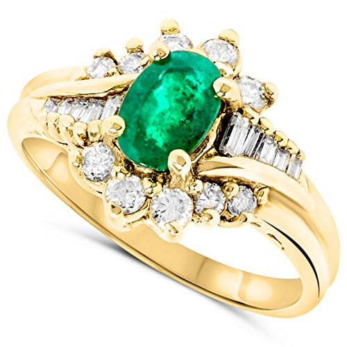 18k Yellow Gold Oval Green Emerald Genuine Gemstone and Diamond Bypass Ring For Women