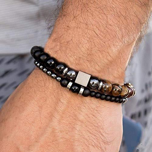 Qingsb Mode Heren Armband Sets Trendy Handgemaakte Klassieke Strand Steen Kralen Armband Voor Mannen Sieraden Cadeau, 8