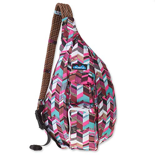 KAVU Original Rope Sling Bag Polyester Crossbody Backpack - Sunset Blocks