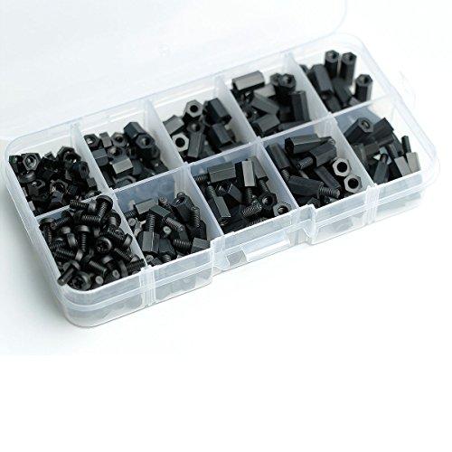 Aike 300PCS M3 Nylon Black Hex Screw Nut Spacer Standoff Varied Length Assortment Box