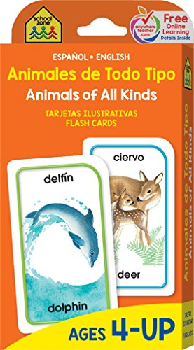 School Zone - Bilingual Animals of All Kinds Flash Cards - Ages 4+, Preschool, Kindergarten, ESL, Language Immersion, Animal Names, Classes, and More (Spanish and English Edition)