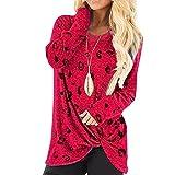 Elesoon Blusa holgada de manga larga con lunares y cuello redondo para mujer, A-rojo, 48