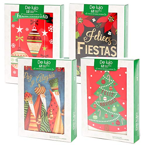 Papercraft (48 Pack) Boxed Christmas Cards Deluxe Bulk Assortment Holiday Cards Pack with Foil & Glitter - Spanish Christmas Cards