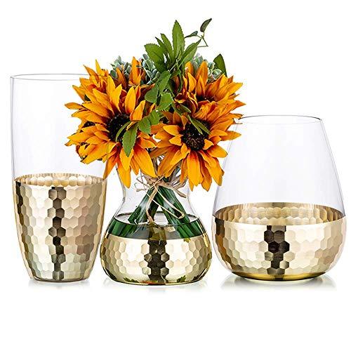 MZDJDM Juego de 3 jarrones Decorativos de Flores de Vidrio Transparente con decoración de Panal Dorado, centros de Mesa de Comedor, Regalos para Bodas, inauguración de la casa, Fiesta de Navidad
