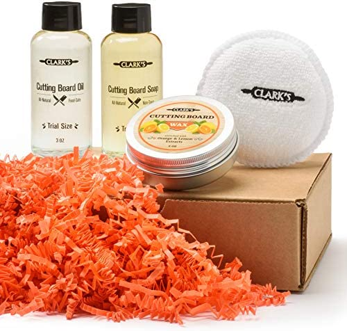 CLARK S Cutting Board Care Gift Set Cutting Board Soap Oil Wax and Buffing Pad Enriched with product image