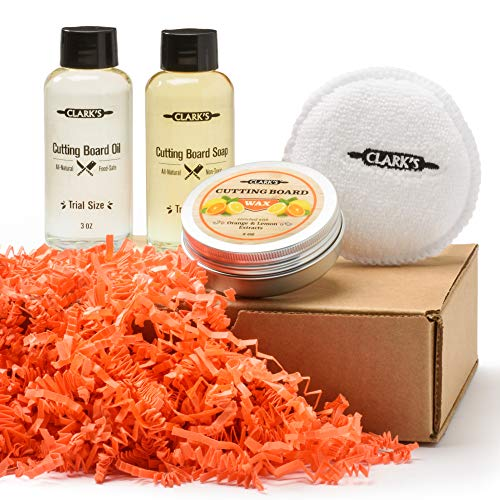 CLARK'S Cutting Board Care Gift Set - Cutting Board Soap, Oil, Wax, and Buffing Pad. Enriched with Orange & Lemon Oils. Small Sizes for a Big Impact!