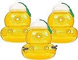 Wespenfalle zum Aufhängen 3 Stück Bienen-/Honigfänger Horneten gelbe Jackenfalle Hornetenfalle Kunststoff wiederverwendbar zum Aufhängen oder für den Außenbereich Sanduhr-Form