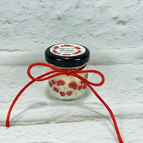 Papavero 5 mini candele profumi misti in vasetto con tappo personalizzato Segnaposto matrimonio comunione battesimo regali fine festa
