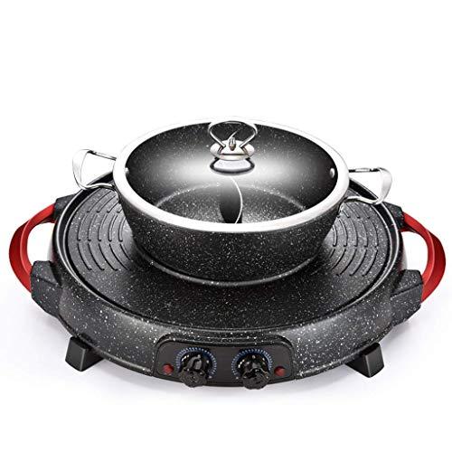 GJJSZ Barbecue électrique Hot Pot Accueil Double Couche Multi-Fonction sans fumée coréen Monobloc antiadhésif Double contrôle de la température Machine de Barbecue (Taille:A)
