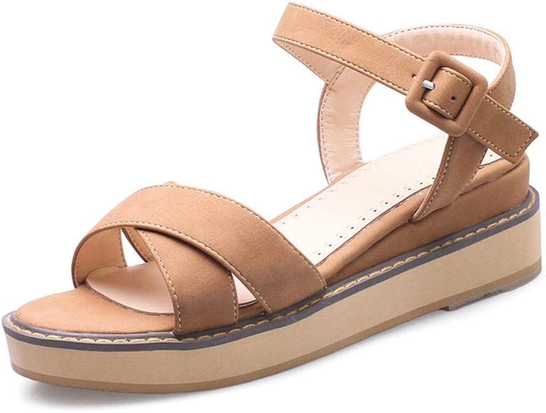 IWlxz Women's shoes Fleece Spring Summer Sandals Wedge Heel Round Toe Buckle for Casual Office & Career Dress Black Beige Yellow Pink