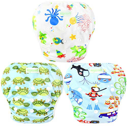 Wegreeco Baby & Toddler Snap One Size Adjustable Reusable Baby Swim Diaper (Diving, Ocean, Turtle, Large, 3 Pack)