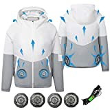 ARRIS Fan Equipped Clothing, UV Resistant Cooling Jacket for Men, 5V USB powered Air Conditioned Coat for Summer High Temp Outdoor Work