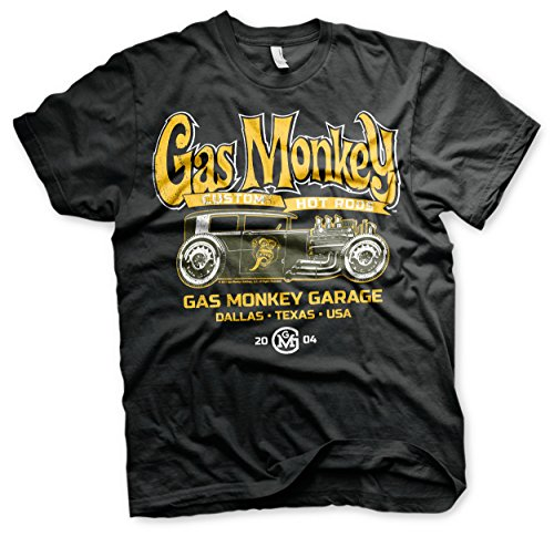 Gas Monkey Garage Oficialmente Licenciado GMG - Green Hot Rod Camiseta para Hombre (Negro)