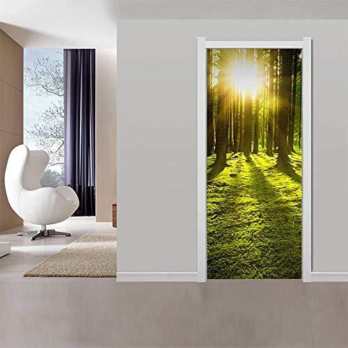 Pegatinas Mural de Puertas 3D Sol matutino,Autoadhesivo de Bricolaje PVC Póster para Guardería 77x200cm Papel Pintado Mural para Dormitorio Salón, Arte Moderno Decor
