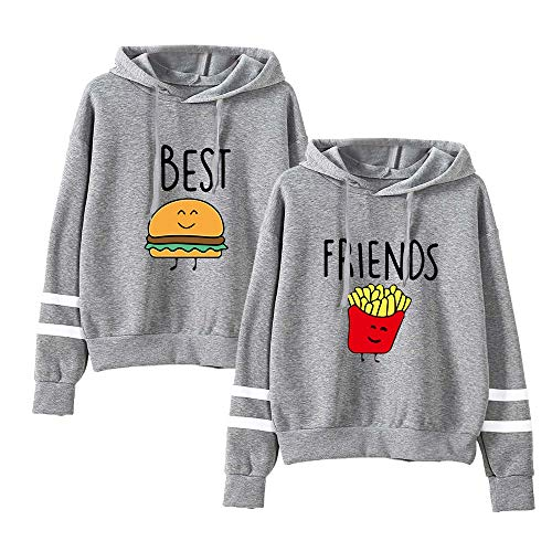 Best Friend Hoodies for Women-Family Matching 2 Outfits Funny Graphic Food Clothing Long Sleeve Pullover Sweatshirt(Grey,M)