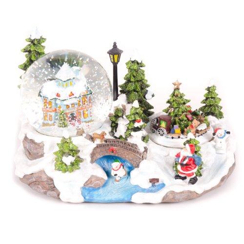 WeRChristmas 25cm Santa Scene Animated Snow Globe Christmas Decoration with Revolving Train and ON/OFF Music Option