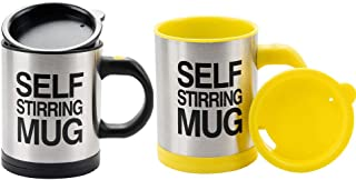 Self Stirring Coffee Mug Automatic Mixing Cup Lazy Smart Mug Double Insulated Cup Stainless Steel Functional Coffee Cup for Coffee Stirring Office Kitchen Home Travel Gift Mug 2pcs Black and Yellow by