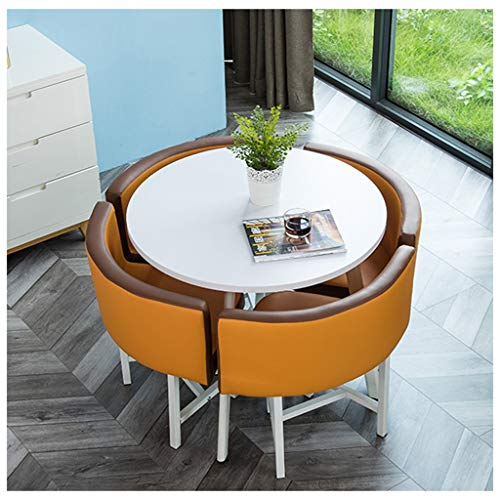 Gaohh Empfangstheke Und Stuhlkombination Kleiner Runder Tisch Nordischer Verhandlungstisch Home Esstisch Küche Wohnzimmer Schlafzimmer Büro Lounge Einfache Freizeit 1 Tisch 4 Stühle Ledersessel