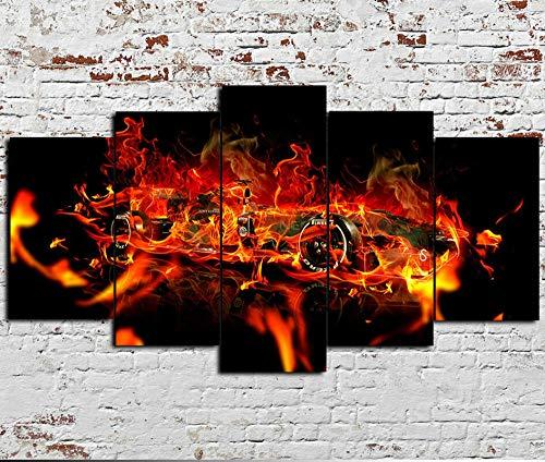 WJWORLD 5 panelen canvas schilderijen muur abstract achtergrond schilderijen schilderijen kunst op canvas kunstdruk afbeeldingen hoofddecoratie formule F1 auto vuur 20x35cmx2,20x45cmx2,20x55cmx1 Frameloos
