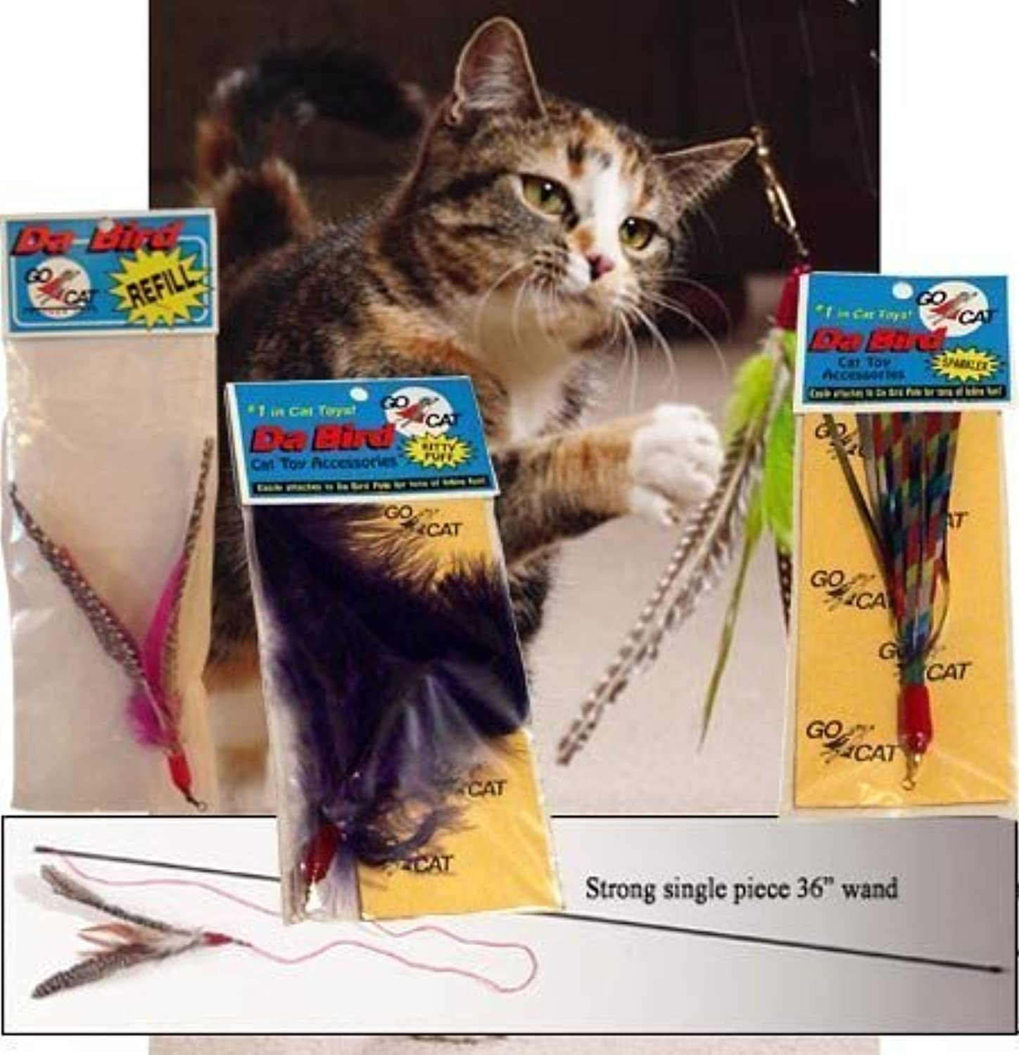 Litterboy pets The Da Bird Super Pack (Includes 1 Da Bird Original 36  Single Pole Cat Toy, Feather Refill, Sparkly Attachment, Kitty Puff Attachment & Peacock Feather)
