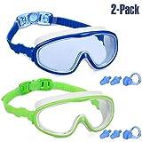 Yizerel Lot de 2 lunettes de natation pour enfants et jeunes adolescents de 3 à 15 ans, vision large, anti-buée, imperméable, protection UV