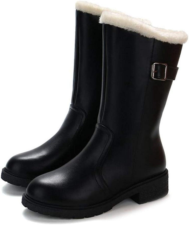 LVYING Women Mid Calf Boots Plush Fur Winter Metal Buckle Warm Fashion Zipper Round Toe shoes