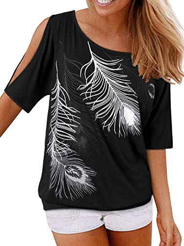 YOINS Blusa de mujer de manga corta con hombros descubiertos, para verano, con plumas