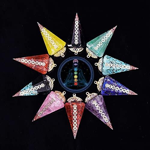 NIUBKLAS Colgante de péndulo de Cuarzo de Cristal curativo Natural Colgante de Piedra de Reiki Hexagonal