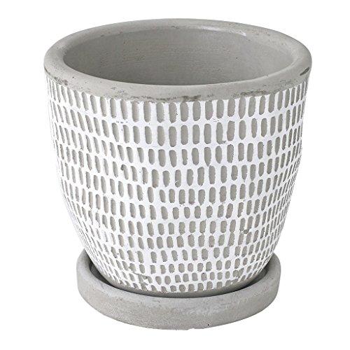 SPICE OF LIFE(スパイス) 植木鉢 レリーフ プランター ドット ライン ホワイト 直径12.5×12cm セメント 底穴あり 皿付き CCGH1820WH