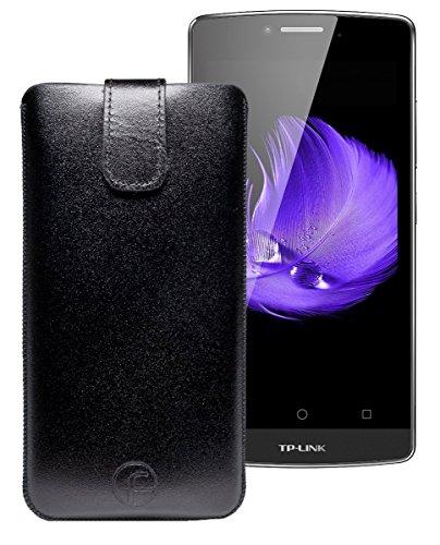 Favory Tasche Leder Etui für TP-Link Neffos C5L | ECHT Ledertasche Hülle Schutzhülle (Lasche mit Rückzugfunktion) schwarz